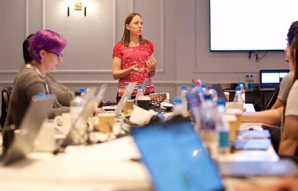 Anna Lewis teaching Google Analytics