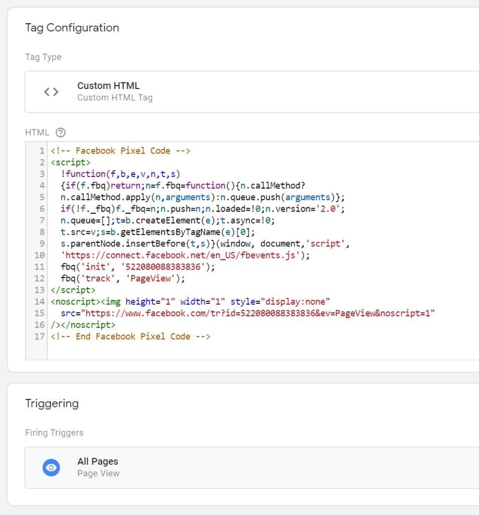 Facebook pixel pageview tag in GTM